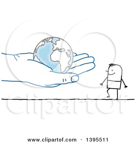 Clipart of a Sketched Blue Hand Holding a Globe out to a Stick Man - Royalty Free Vector Illustration by NL shop