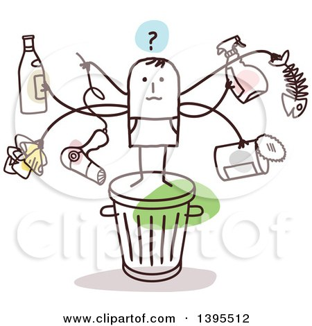Clipart of a Sketched Stick Man with Many Arms, Holding Items on Top of a Trash Can - Royalty Free Vector Illustration by NL shop