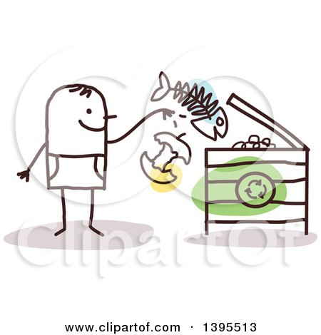 Clipart of a Sketched Stick Man Tossing Food into a Compost or Recycle Bin - Royalty Free Vector Illustration by NL shop