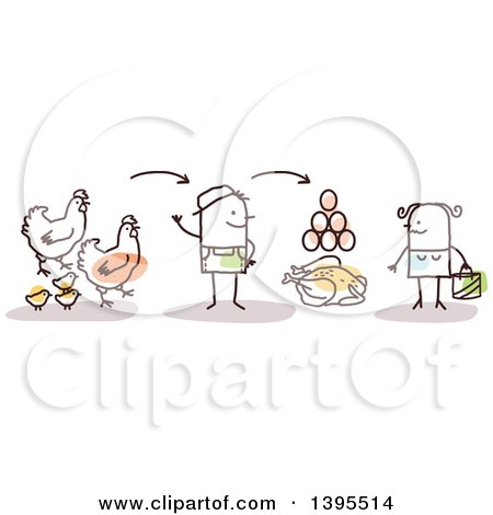 Clipart of a Sketched Stick Man Farmer Discussing Chicken Poultry and Egg Production with a Female Customer - Royalty Free Vector Illustration by NL shop