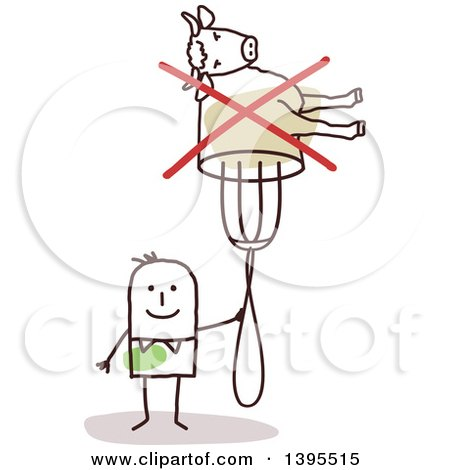 Clipart of a Sketched Stick Man Holding a Crossed out Cow on a Fork - Royalty Free Vector Illustration by NL shop
