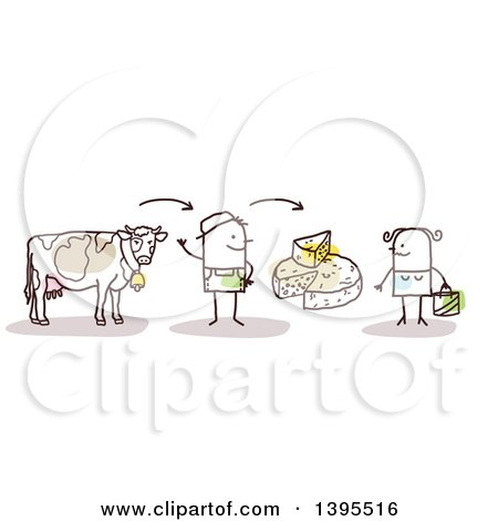 Clipart of a Sketched Stick Man Farmer Discussing Beef and Cheese with a Female Customer - Royalty Free Vector Illustration by NL shop