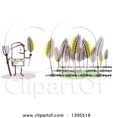 Clipart of a Sketched Stick Male Wheat Farmer - Royalty Free Vector Illustration by NL shop