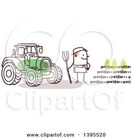 Clipart of a Sketched Stick Man Farmer by a Tractor and Crop - Royalty Free Vector Illustration by NL shop