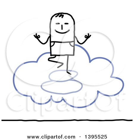 Clipart of a Sketched Stick Man Meditating on the Cloud - Royalty Free Vector Illustration by NL shop