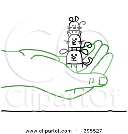 Clipart of a Sketched Green Hand Holding Stick Animals - Royalty Free Vector Illustration by NL shop
