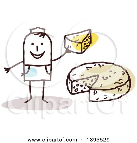 Clipart of a Sketched Stick Man Making and Selling Cheese - Royalty Free Vector Illustration by NL shop