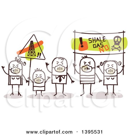 Clipart of a Sketched Group of Stick Protestors Against Shale Gas - Royalty Free Vector Illustration by NL shop