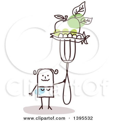 Clipart of a Sketched Stick Woman Holding an Apple and Peas on a Fork - Royalty Free Vector Illustration by NL shop