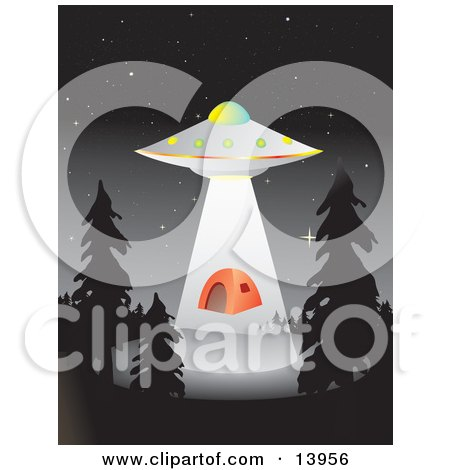 UFO Hovering Over A Campground And Abducting An Orange Tent Clipart Illustration