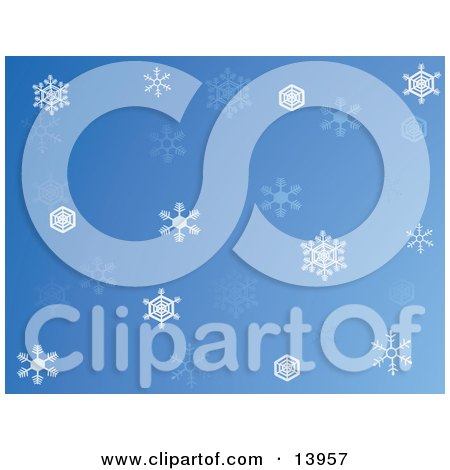 Blue Wintry Christmas Web Background With White and Blue Snowflakes Clipart Illustration by Rasmussen Images