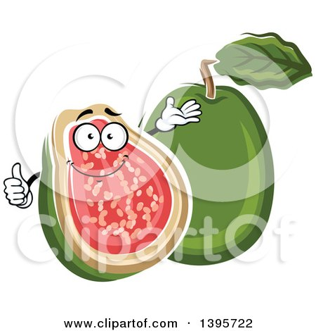 Clipart of a Sketched Apple Guava Character - Royalty Free Vector Illustration by Vector Tradition SM