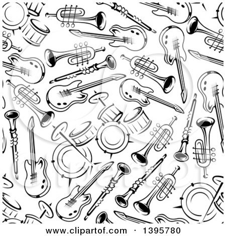 Clipart of a Seamless Background Pattern of Instruments - Royalty Free Vector Illustration by Vector Tradition SM