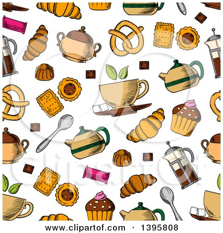 Seamless Background Pattern of Tea and Snacks Posters, Art Prints