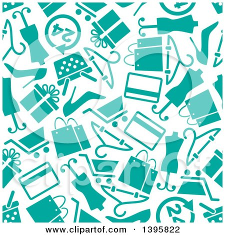 Clipart of a Seamless Background Pattern of Turquoise Shopping Icons - Royalty Free Vector Illustration by Vector Tradition SM