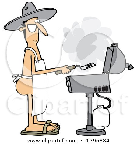 Clipart of a Cartoon Nude White Man Wearing an Apron and Cooking on a Bbq Grill - Royalty Free Vector Illustration by djart