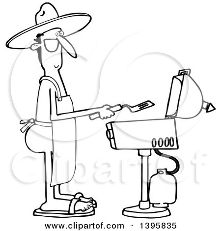 Clipart of a Cartoon Black and White Nude Man Wearing an Apron and Cooking on a Bbq Grill - Royalty Free Vector Illustration by djart