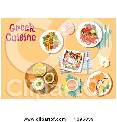Clipart of a Meal of Greek Cuisine, with Text on Orange - Royalty Free Vector Illustration by Vector Tradition SM