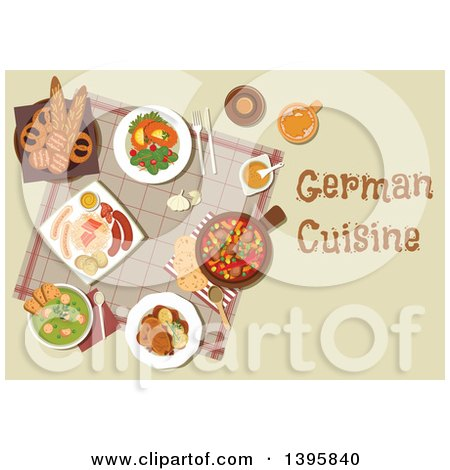Clipart of a Meal of German Cuisine, with Text - Royalty Free Vector Illustration by Vector Tradition SM