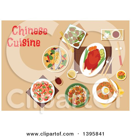 Clipart of a Meal of Chinese Cuisine, with Text on Tan - Royalty Free Vector Illustration by Vector Tradition SM