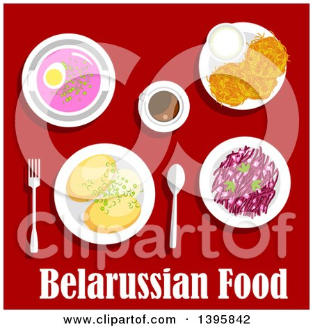 Clipart of a Meal of Belarussian Cuisine, with Text on Red - Royalty Free Vector Illustration by Vector Tradition SM