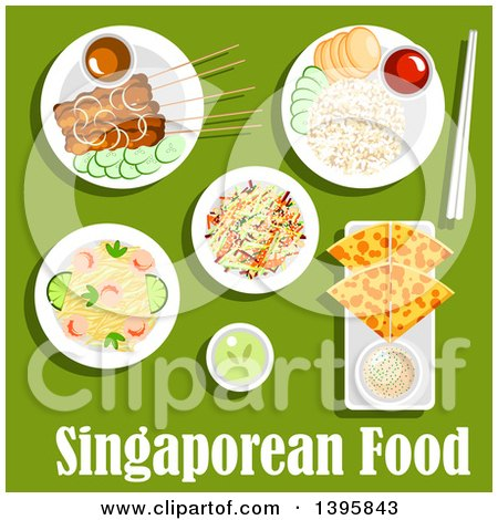 Meal of Singaporean Cuisine, with Text on Green Posters, Art Prints