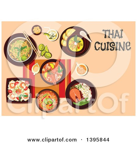 Clipart of a Meal of Thai Cuisine, with Text on Orange - Royalty Free Vector Illustration by Vector Tradition SM