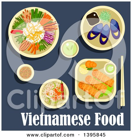 Clipart of a Meal of Vietnamese Cuisine, with Text on Blue - Royalty Free Vector Illustration by Vector Tradition SM
