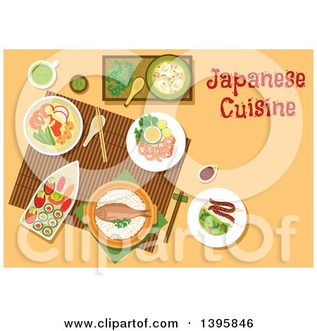 Clipart of a Meal of Japanese Cuisine, with Text on Orange - Royalty Free Vector Illustration by Vector Tradition SM