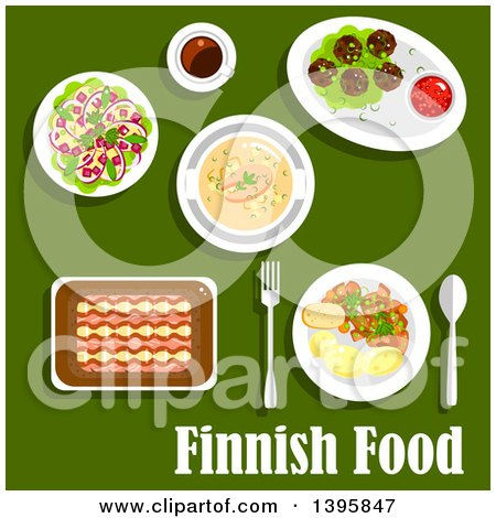 Clipart of a Meal of Finnish Food with Text on Green - Royalty Free Vector Illustration by Vector Tradition SM