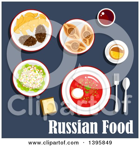 Meal of Russian Cuisine, with Text on Blue Posters, Art Prints