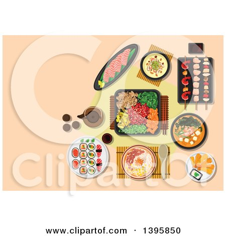 Meal of Japanese Cuisine on Pastel Orange Posters, Art Prints