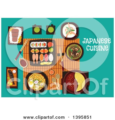 Clipart of a Meal of Japanese Cuisine, with Text on Turquoise - Royalty Free Vector Illustration by Vector Tradition SM