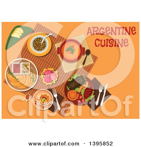 Clipart of a Meal of Argentine Cuisine, with Text on Orange - Royalty Free Vector Illustration by Vector Tradition SM