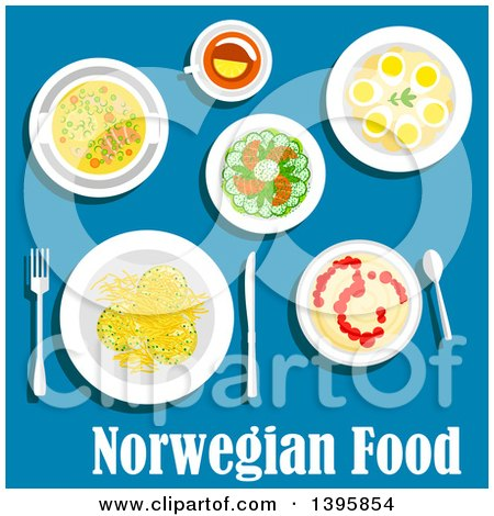 Meal of Norwegian Cuisine, with Text on Blue Posters, Art Prints