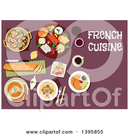 Clipart of a Meal of French Cuisine, with Text on Purple - Royalty Free Vector Illustration by Vector Tradition SM