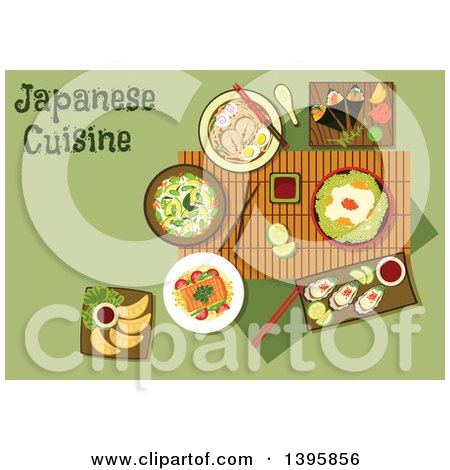 Clipart of a Meal of Japanese Cuisine, with Text on Green - Royalty Free Vector Illustration by Vector Tradition SM