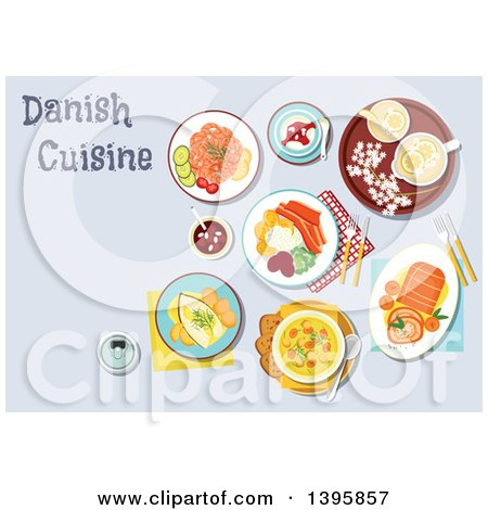 Clipart of a Meal of Danish Cuisine, with Text - Royalty Free Vector Illustration by Vector Tradition SM