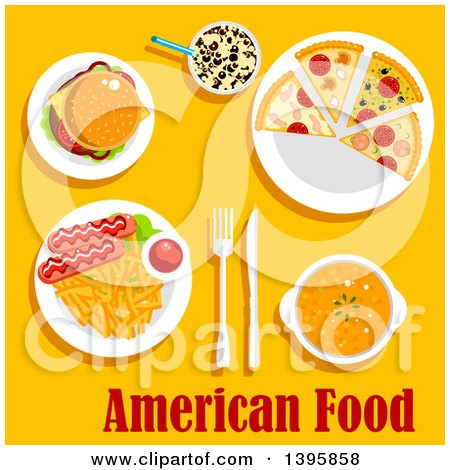 Clipart of a Meal of American Cuisine, with Text on Yellow - Royalty Free Vector Illustration by Vector Tradition SM