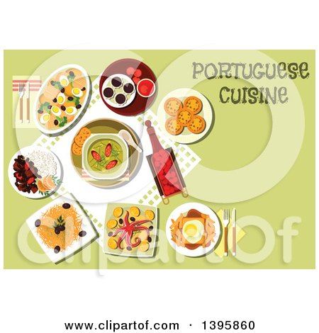 Clipart of a Meal of Portuguese Cuisine, with Text on Green - Royalty Free Vector Illustration by Vector Tradition SM