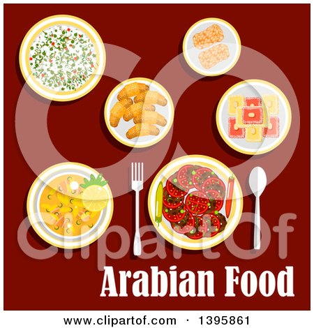 Clipart of a Meal of Arabian Cuisine, with Text on Red - Royalty Free Vector Illustration by Vector Tradition SM