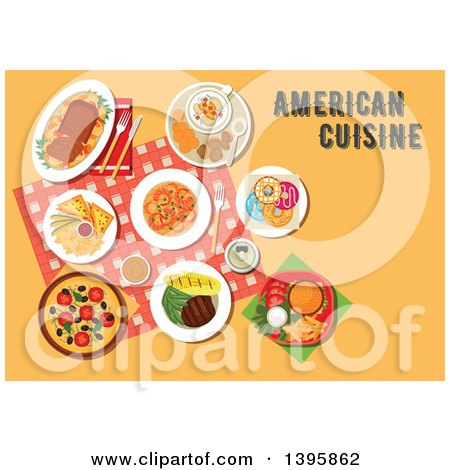 Clipart of a Meal of American Cuisine, with Text on Orange - Royalty Free Vector Illustration by Vector Tradition SM