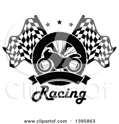 Clipart of a Silhouetted Motorcycle Tire, Blank Banner, Text, and Crossed Racing Flags with Stars - Royalty Free Vector Illustration by Vector Tradition SM