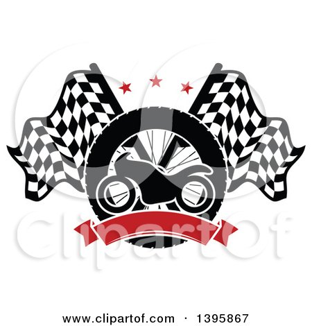 Clipart of a Silhouetted Motorcycle Tire, Red Blank Banner and Crossed Racing Flags with Stars - Royalty Free Vector Illustration by Vector Tradition SM