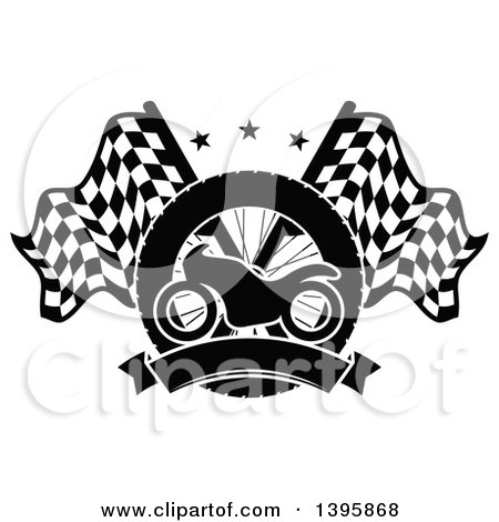 Clipart of a Silhouetted Motorcycle Tire, Blank Banner and Crossed Racing Flags with Stars - Royalty Free Vector Illustration by Vector Tradition SM