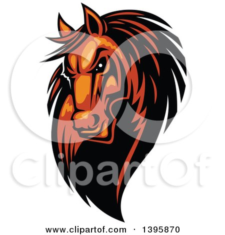 Clipart of a Tough Brown Horse Head - Royalty Free Vector Illustration by Vector Tradition SM