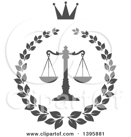 Clipart of a Laurel Wreath with Legal Gray Scales of Justice - Royalty Free Vector Illustration by Vector Tradition SM