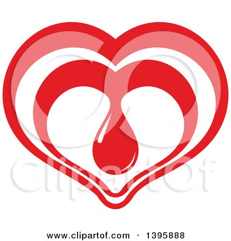 Clipart of a Red Heart with a Blood Drop - Royalty Free Vector Illustration by Vector Tradition SM