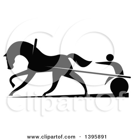 Clipart of a Black Silhouetted Jockey and Horse Harness Racing - Royalty Free Vector Illustration by Vector Tradition SM