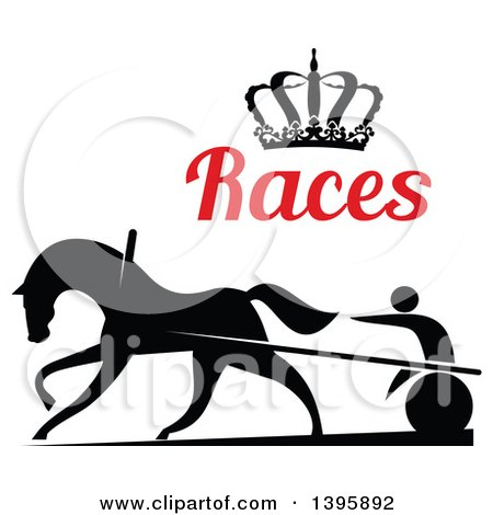 Clipart of a Black Silhouetted Jockey and Horse Harness Racing Under a Crown and Red Text - Royalty Free Vector Illustration by Vector Tradition SM